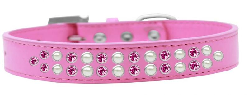 Two Row Pearl And Pink Crystal Size 16 Bright Pink Dog Collar