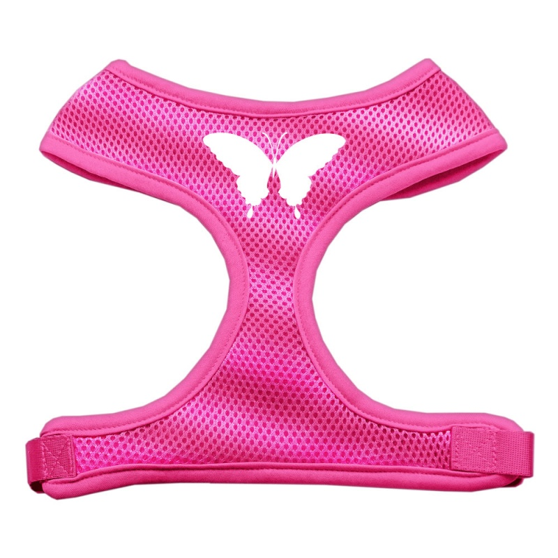 Butterfly Design Soft Mesh Pet Harness Pink Extra Large