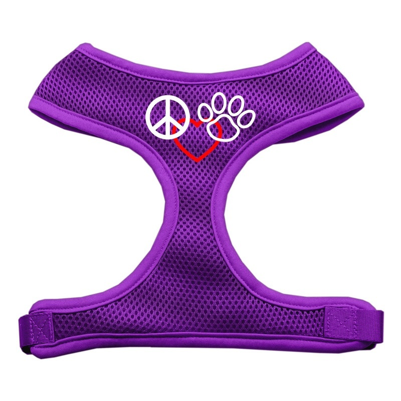 Peace, Love, Paw Design Soft Mesh Pet Harness Purple Large