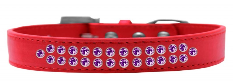 Two Row Purple Crystal Size 14 Red Dog Collar