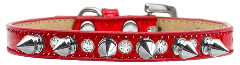 Crystal And Silver Spikes Dog Collar Red Ice Cream Size 12