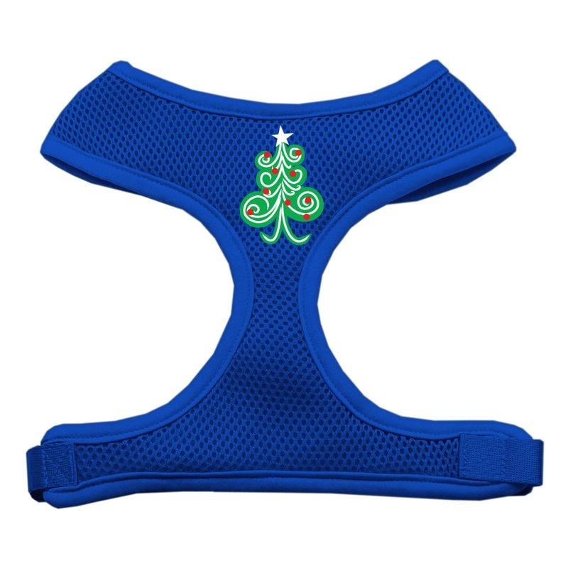 Swirly Christmas Tree Screen Print Soft Mesh Pet Harness Blue Large