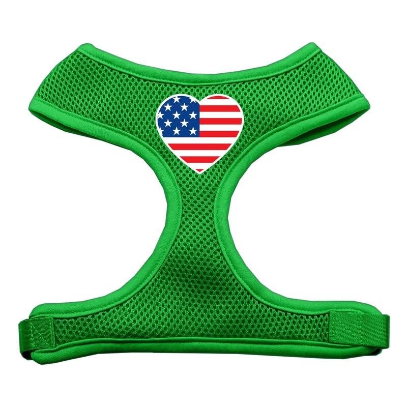 Heart Flag Usa Screen Print Soft Mesh Pet Harness Emerald Green Extra Large
