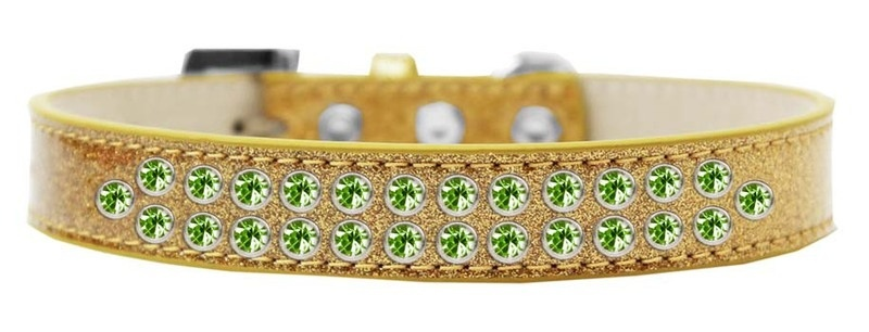 Two Row Lime Green Crystal Size 18 Gold Ice Cream Dog Collar