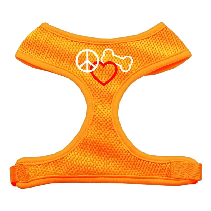 Peace, Love, Bone Design Soft Mesh Pet Harness Orange Medium