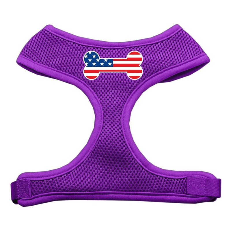 Bone Flag Usa Screen Print Soft Mesh Pet Harness Purple Large