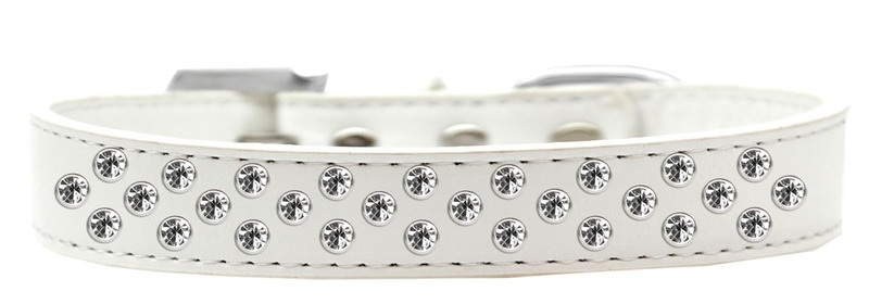 Sprinkles Dog Collar Clear Crystals Size 20 White