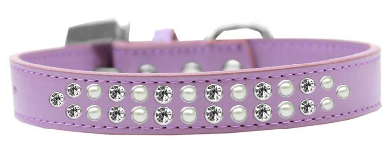 Two Row Pearl And Clear Crystal Size 16 Lavender Dog Collar