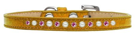 Pearl And Pink Crystal Size 8 Gold Puppy Ice Cream Collar