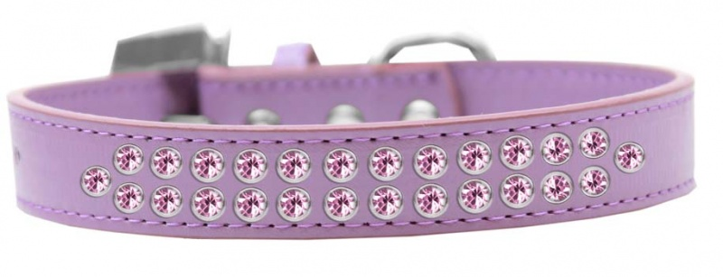 Two Row Light Pink Crystal Size 16 Lavender Dog Collar