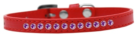 Purple Crystal Size 10 Red Puppy Collar