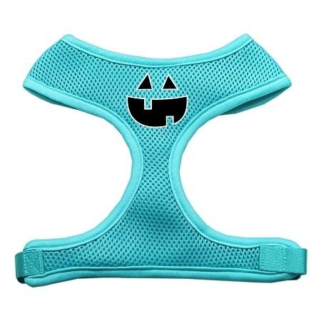 Pumpkin Face Design Soft Mesh Pet Harness Aqua Large