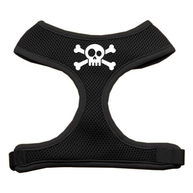 Skull Crossbones Screen Print Soft Mesh Pet Harness Black Medium