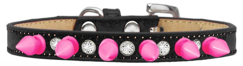 Crystal And Bright Pink Spikes Dog Collar Black Ice Cream Size 14