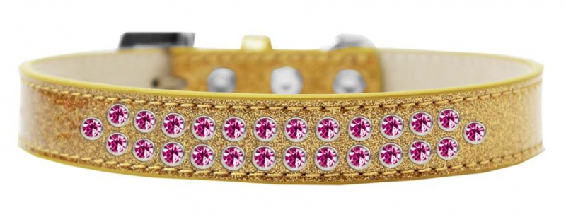 Two Row Bright Pink Crystal Size 16 Gold Ice Cream Dog Collar