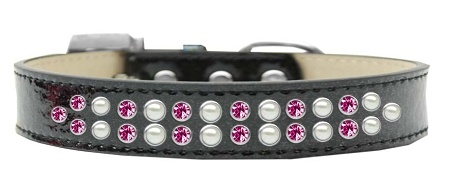 Two Row Pearl And Pink Crystal Size 20 Black Ice Cream Dog Collar