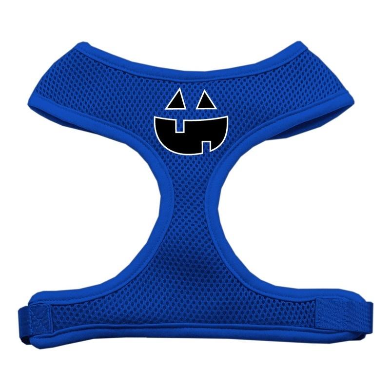 Pumpkin Face Design Soft Mesh Pet Harness Blue Extra Large