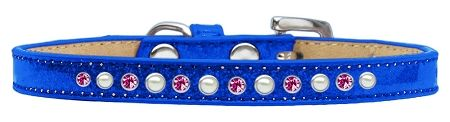 Pearl And Pink Crystal Size 16 Blue Puppy Ice Cream Collar