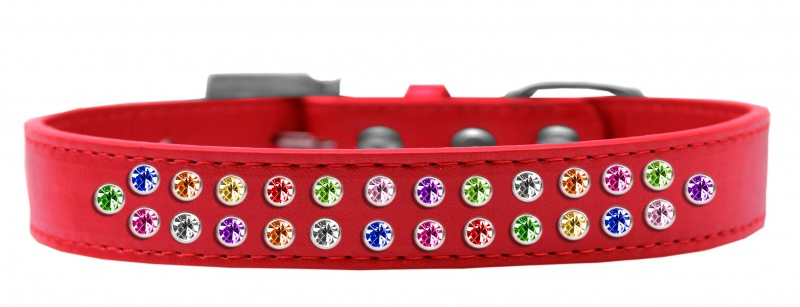 Two Row Confetti Crystal Size 12 Red Dog Collar