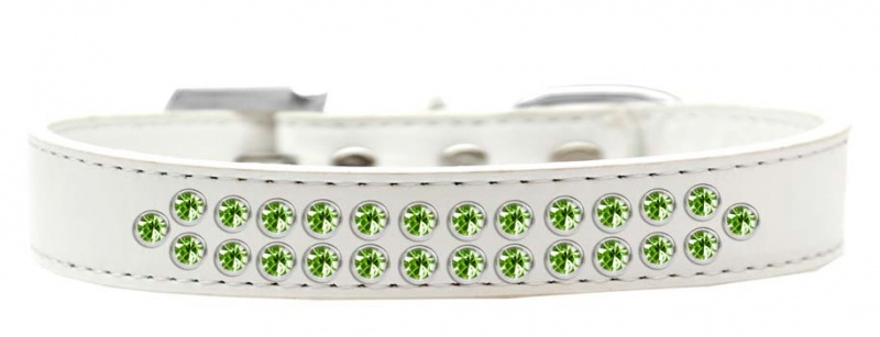 Two Row Lime Green Crystal Size 14 White Dog Collar