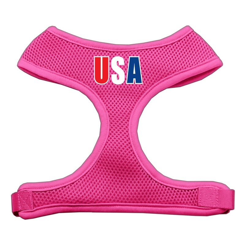 Usa Star Screen Print Soft Mesh Pet Harness Pink Large