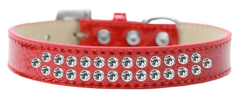 Two Row Clear Crystal Size 14 Red Ice Cream Dog Collar