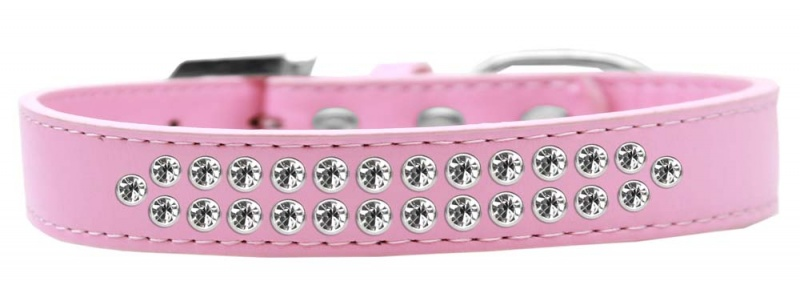 Two Row Clear Crystal Size 16 Light Pink Dog Collar