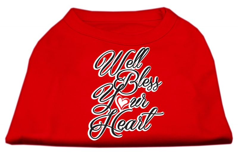 Well Bless Your Heart Screen Print Dog Shirt Red Sm