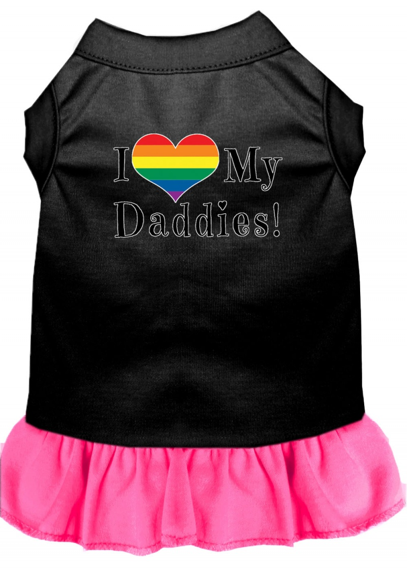 I Heart My Daddies Screen Print Dog Dress Black With Bright Pink Med