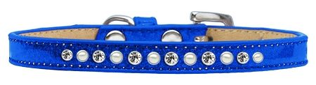 Pearl And Clear Crystal Size 10 Blue Puppy Ice Cream Collar