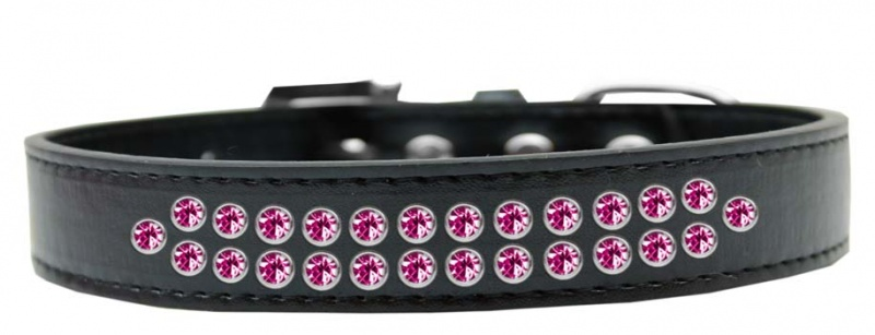 Two Row Bright Pink Crystal Size 18 Black Dog Collar