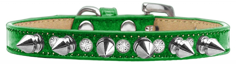 Crystal And Silver Spikes Dog Collar Emerald Green Ice Cream Size 12