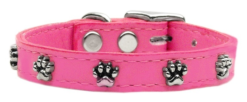 Paw Leather Dog Collar Pink 24