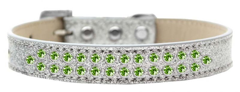 Two Row Lime Green Crystal Size 12 Silver Ice Cream Dog Collar