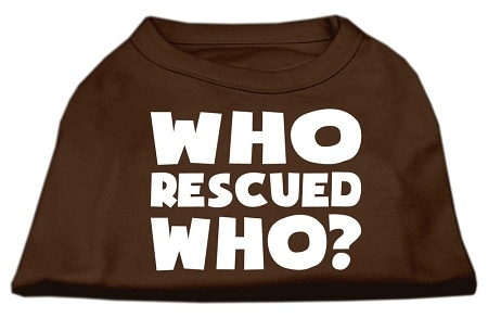 Who Rescued Who Screen Print Shirt Brown Xxl