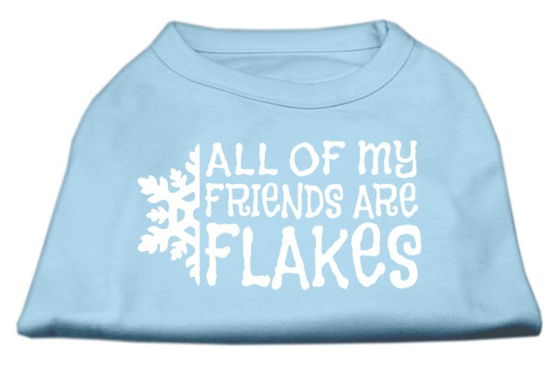 All My Friends Are Flakes Screen Print Shirt Baby Blue Xl