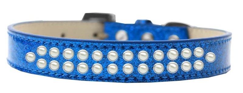 Two Row Pearl Size 14 Blue Ice Cream Dog Collar