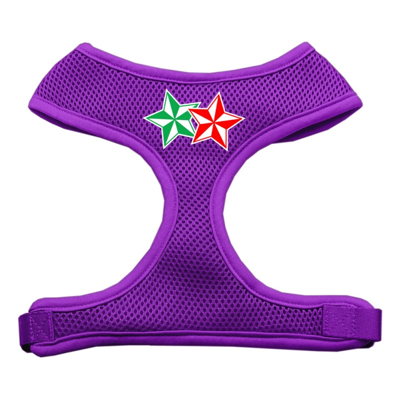 Double Holiday Star Screen Print Mesh Pet Harness Purple Large