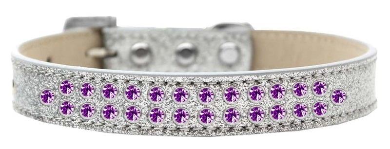 Two Row Purple Crystal Size 18 Silver Ice Cream Dog Collar