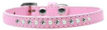 Pearl And Clear Crystal Size 16 Light Pink Puppy Collar
