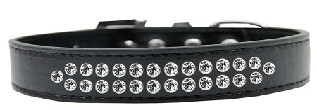 Two Row Clear Crystal Size 14 Black Dog Collar