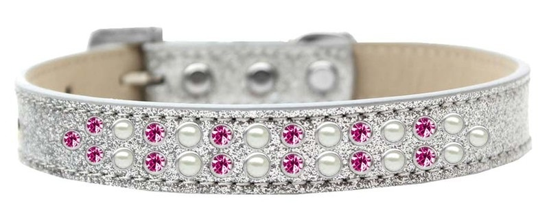 Two Row Pearl And Pink Crystal Size 20 Silver Ice Cream Dog Collar