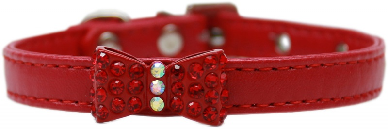 Bow-Dacious Crystal Dog Collar Red Size 16