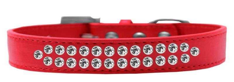 Two Row Clear Crystal Size 20 Red Dog Collar