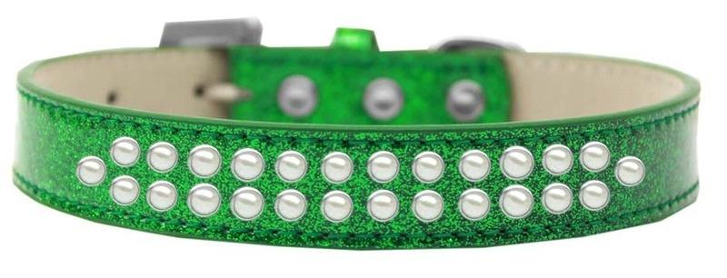 Two Row Pearl Size 20 Emerald Green Ice Cream Dog Collar