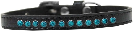 Southwest Turquoise Pearl Size 14 Black Puppy Collar