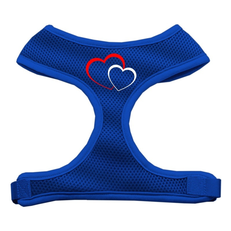 Double Heart Design Soft Mesh Pet Harness Blue Large
