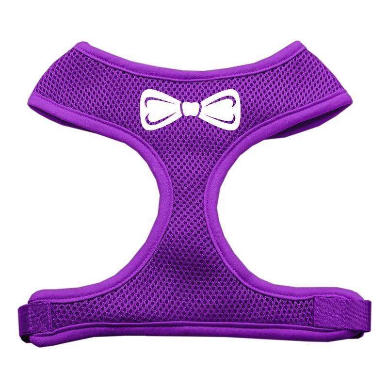 Bow Tie Screen Print Soft Mesh Pet Harness Purple Extra Large
