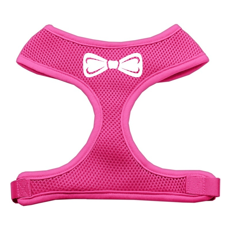 Bow Tie Screen Print Soft Mesh Pet Harness Pink Large
