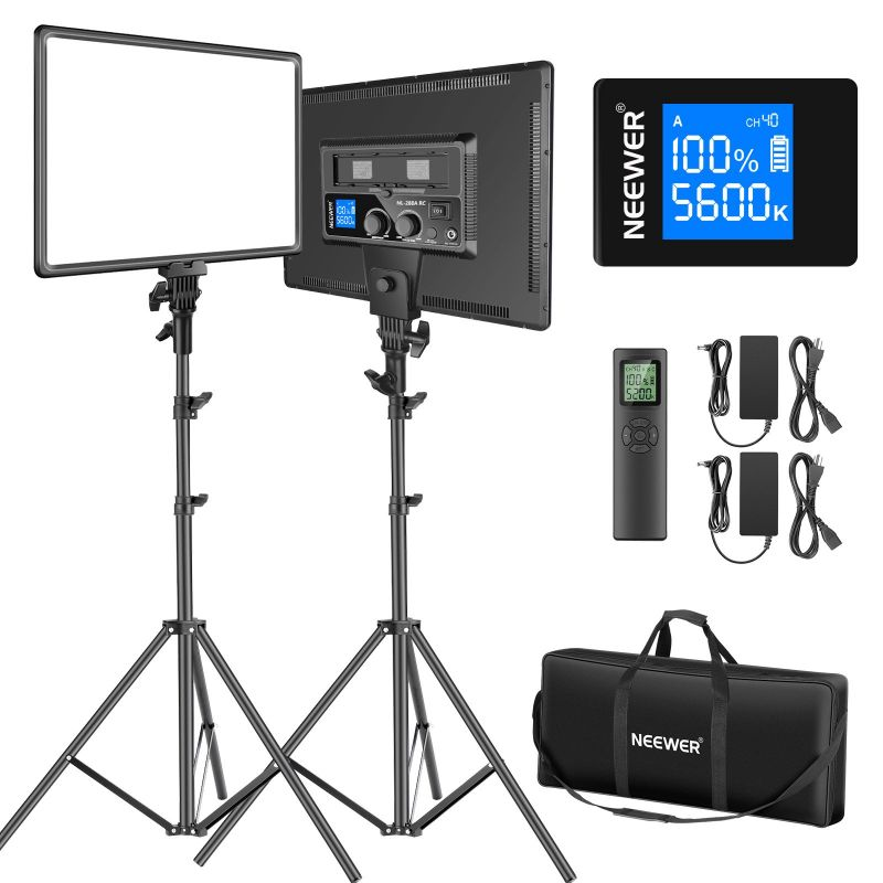 """Neewer 18"""" 2-Pack 45W Cri 97+ Dimmable Bi-Color Led Video Soft Light Panel Lighting Kit With Remote, Light Stand"""